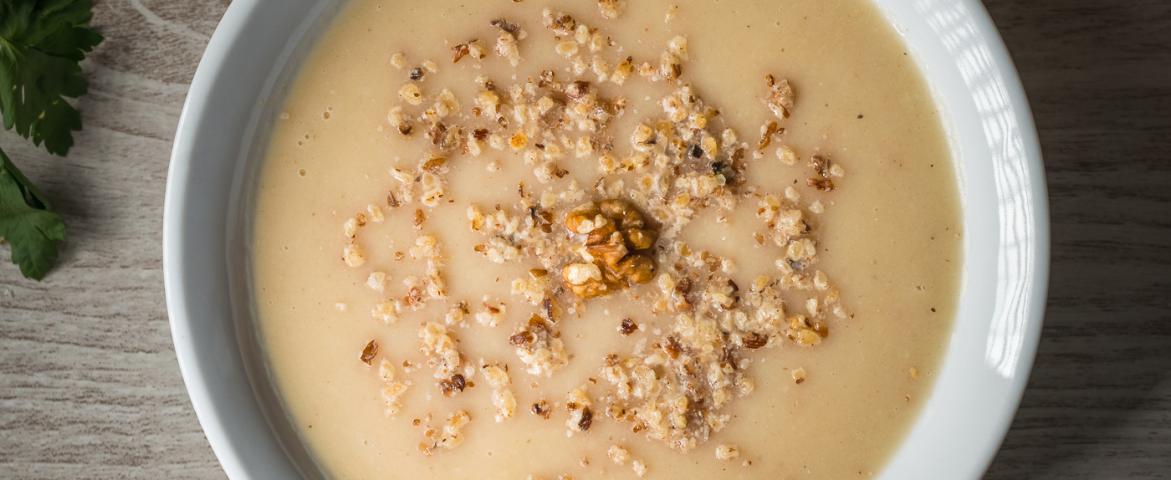 Supa crema de telina cu nuci